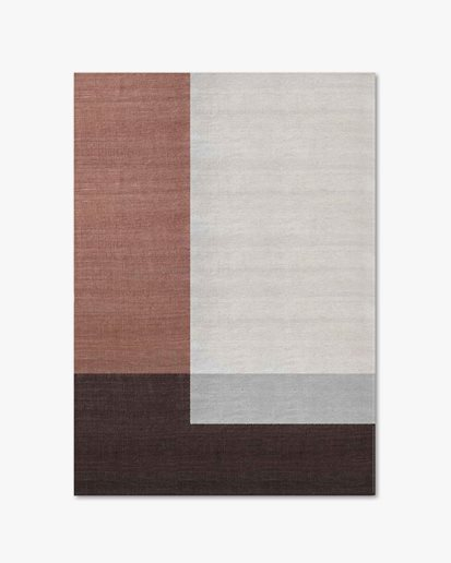 Layered Solitare Wool Rug Coral