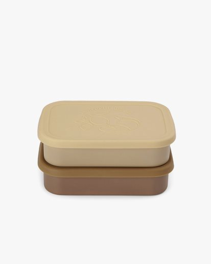 Konges Sløjd Food Boxes Lid Square 2-Pack Vanilla Yellow