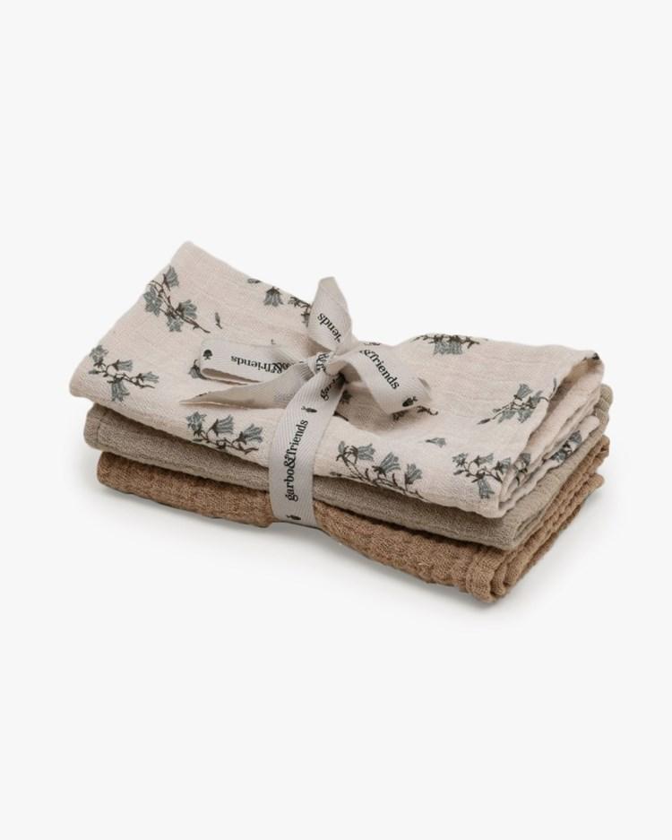 Garbo & Friends Muslin Burp Cloth 3-Pack Bluebell