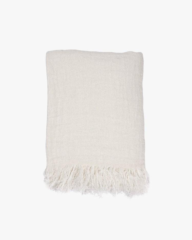 HK Living Linen Bedspread White