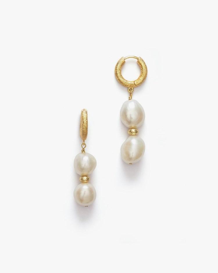Anni Lu Stellar Pearly Hoop Earrings Gold