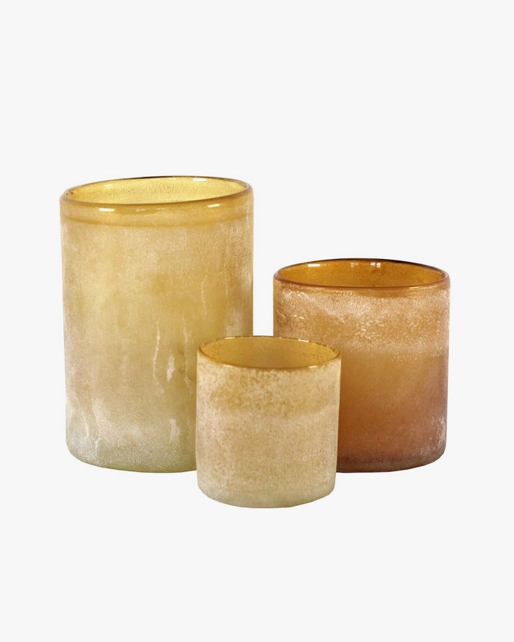Tell Me More Frost Candle Holder Amber