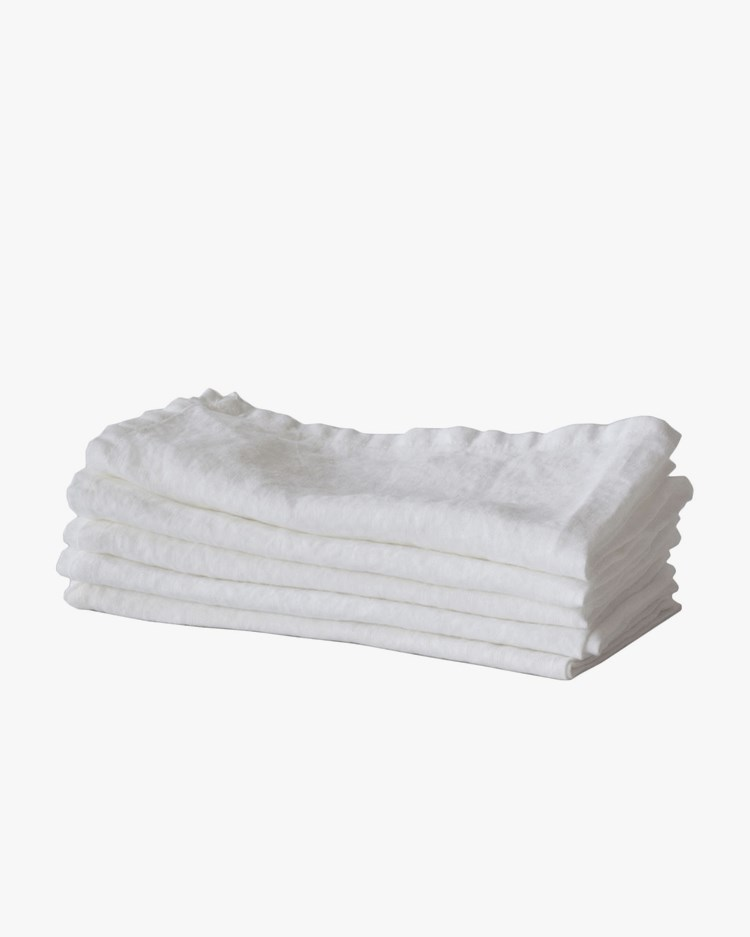 Tell Me More Kitchen Towel Linen Bleached White