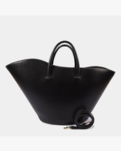Little Liffner Open Tulip Tote Large Black/White Stitching