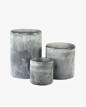 Tell Me More Frost Candle Holder Grey