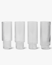Ferm Living Ripple Long Drink Glass 4-Pack Clear
