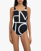 Toteme Printed Swimsuit Negative Monogram