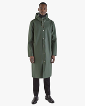 Stutterheim Stockholm Long Raincoat Green