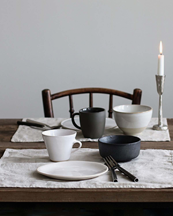 Tell Me More Placemat Linen Bleached White