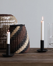 Tell Me More Lou Candle Holder Black