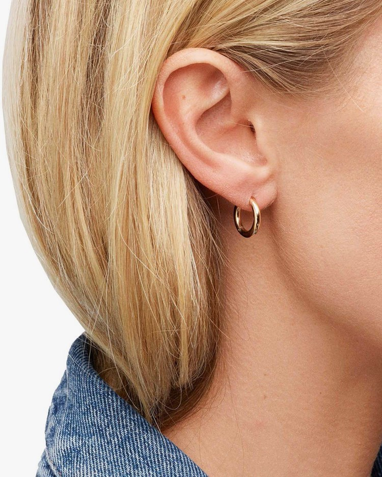 Tom Wood Classic Hoop Earrings Small Gold