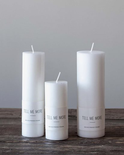 Tell Me More Stearin Candle White