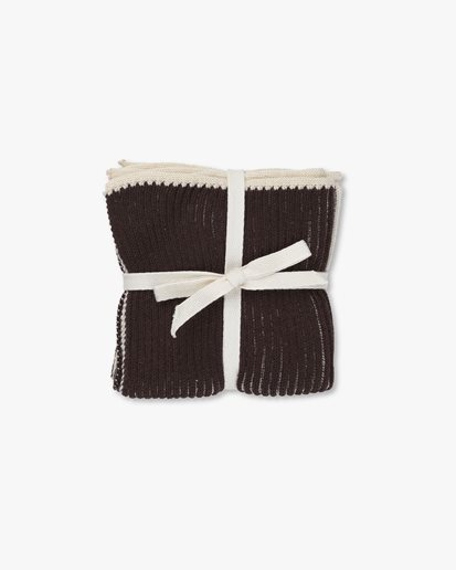 Ferm Living Twofold Cloth 2-Pack Choco/Off white