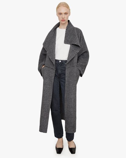Toteme Signature Wool Cashmere Coat Houndstooth