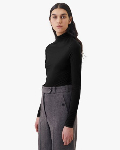 Lemaire Long Sleeve Second Skin Top Black