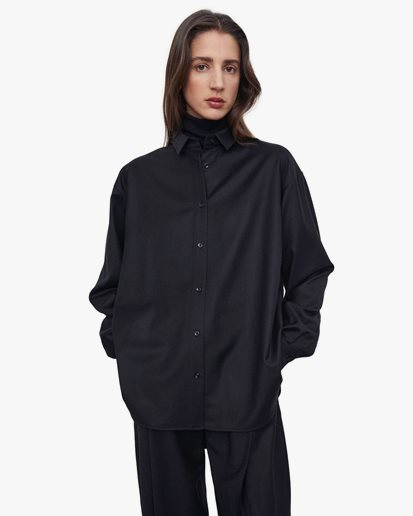 Toteme Smooth Flannel Shirt Black