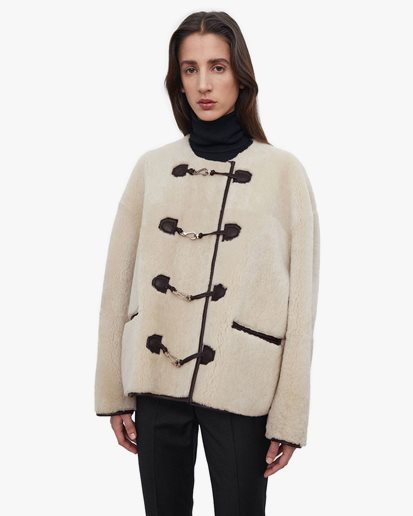 Toteme Teddy Shearling Clasp Jacket Off White