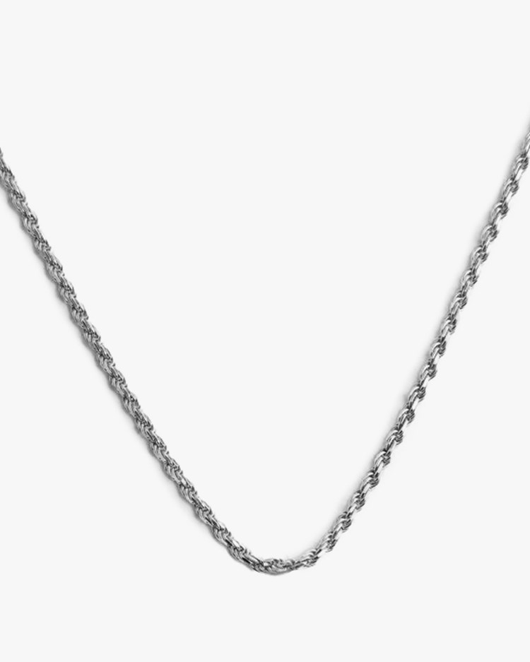 Blue Billie Rope Chain Necklace Silver