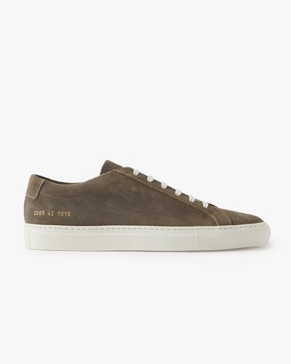 Common Projects Original Achilles Low Olive Waxed Suede