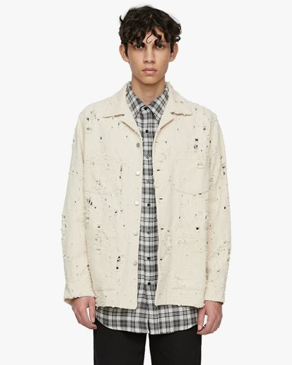 Schnayderman's Overshirt Boxy Trashed Twill Off White