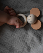 Garbo & Friends Mouse Wood & Leather Teether