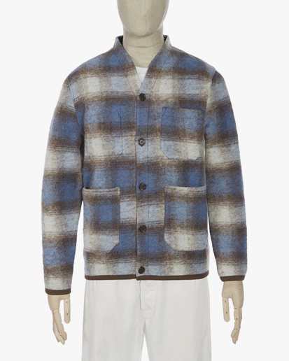 Universal Works Checked Cardigan Blue/Brown
