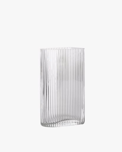 HK Living Ribbed Vase Small Clear