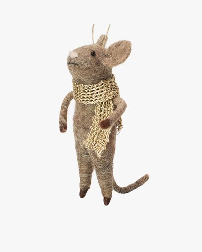 Olsson & Jensen Christmas Decoration Mouse With Gold Scarf
