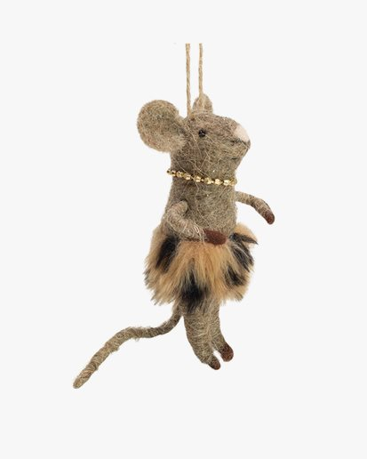 Olsson & Jensen Christmas Decoration Mouse With Gold Necklace