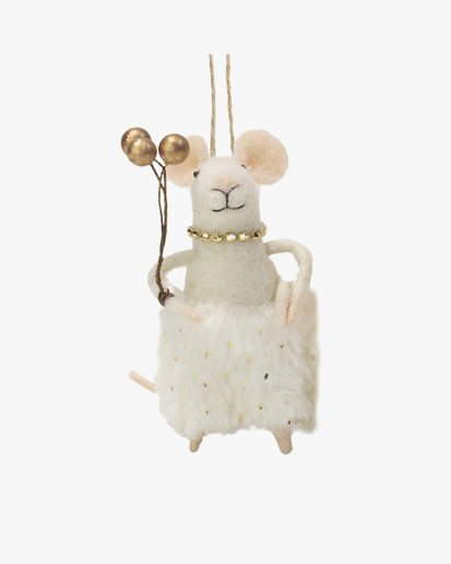 Olsson & Jensen Christmas Decoration Mouse With Gold Balloons
