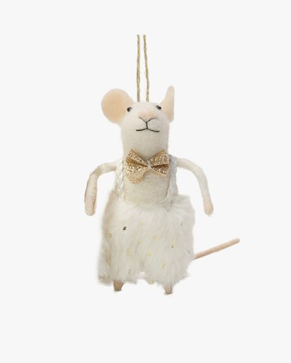 Olsson & Jensen Christmas Decoration Mouse With Gold Bow Tie