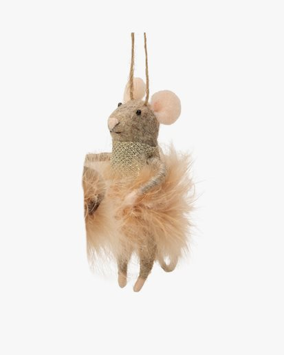Olsson & Jensen Christmas Decoration Mouse With Feather Dress