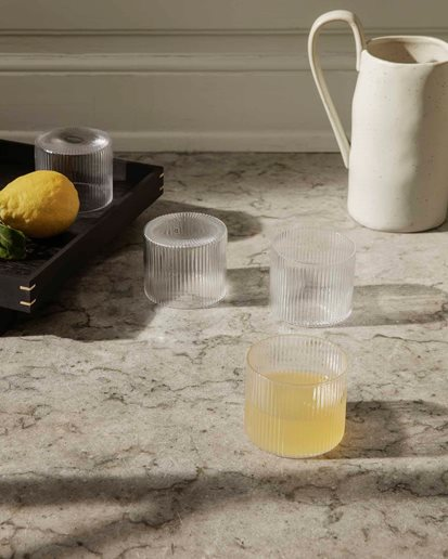 Ferm Living Ripple Low Glass 4-Pack Clear