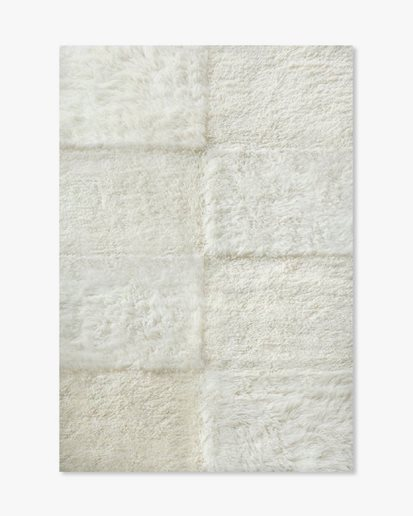 Layered Shaggy Checked Rug Off White
