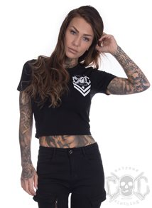 eXc New Skull Logo Cropped Tee