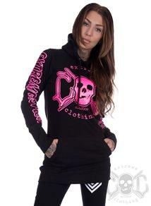 eXc E A F Long Hoodie Black N Pink