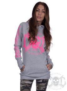 eXc E A F Long Hoodie Grey N Pink