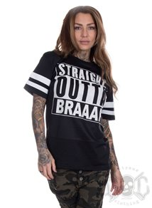 eXc Straight Outta Braaap Mesh Stripe Tee, Black