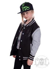 eXc New Skull Kids Varsity Jacket, Black/Grey