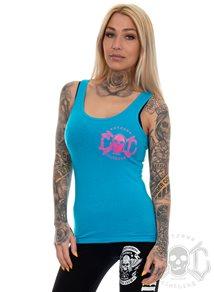 eXc Pink Skull Logo Tank, Caribbean Blue