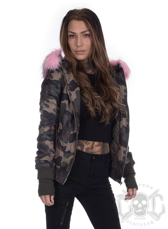 40cf481fc3085 Sixth June Bomber Camouflage Pink Fur Hood - eXtremeclothing.eu