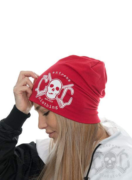 eXc Skull Logo Beanie, Red
