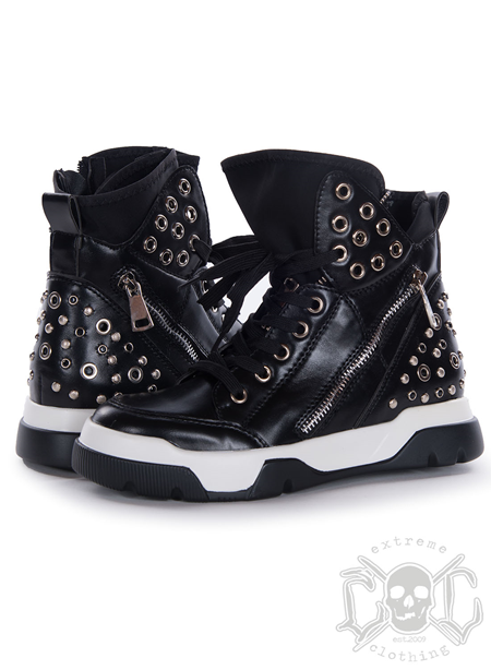 Mix From Italy Studs High Shoes, Black