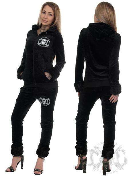 eXc Skull Dress With Fur, Black