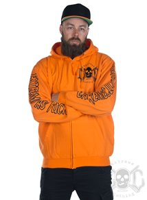 eXc E A F Men Zip Hoodie Orange N Black