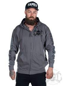 eXc E A F Men Zip Hoodie Grey N Black