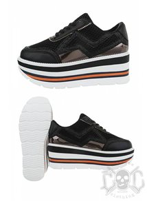 Mix From Italy High Sole Sneakers, Black
