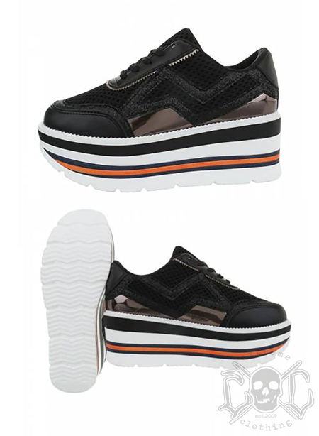 High Sole Sneakers, Black