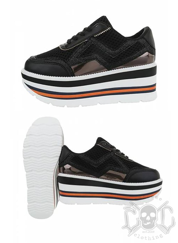 Italy High Sole Sneakers, Black