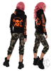 eXc E A F Girls Zip Hoodie Black N Orange